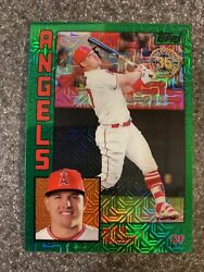2019 Topps Series 1 Silver Pack Mike Trout Green Parallel 20/99 Angels Sp T84-2