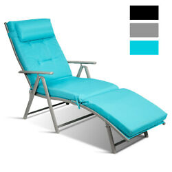 Outdoor Folding Chaise Lounge Chair Lightweight Recliner W/cushion Turquoise