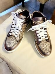Jimmy Choo Miami Sneakers Antique Gold Size 38