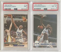 2 Psa Graded 2nd Year Shaquille Oandrsquoneal Cards - 1993 Hoops 155 And Ultra 135