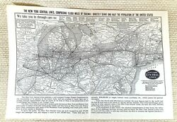 1916 Antique Railway Map The New York Central Lines American Railroad System