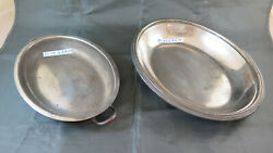 Two Bowls Centerpieces Dishes Fruit Bowl Vintage Metal Silver Plated Bm29
