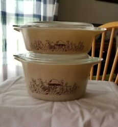 Pyrex Forest Fancies Mushrooms Casserole Dishes W/ Lids 471 And 473