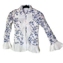 Mary Kate And Ashley Floral Poet Sleeve Top Girls Large Nwt