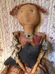 """Wonderful 25"""" Tall Hand Made Vintage Primitive Raggedy Doll And Her Kitty Cat"""