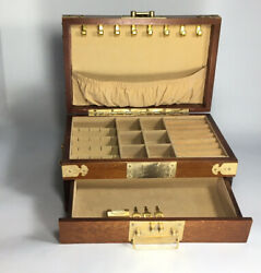 Vintage Wooden Asian Jewelry Box Organizer Velvet Lined Side Handles 11x13x6andrdquo