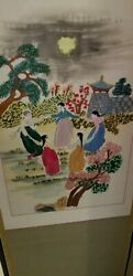 Vintage Asian Hand Stiched And Painted Silk Room Divider. Family/work Pictorials.