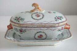 Chinese Export Sauce Tureen And Matching Stand - Famille Rose - Eighteenth Century