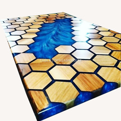 Dining End Coffee Table Acacia Epoxy Table Luxury Furniture Honey Cube Interior
