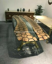 Black Epoxy Table With Clear Resin Custom Table Acacia Wooden Center Tables