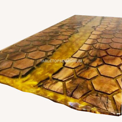 Yellow Resin Dining Conference Center Table Honey Cube Acacia Wooden Design Deco