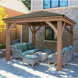 12' X 12' Cedar Outdoor Gazebo W/ Aluminum Roof Must Contact For Availability