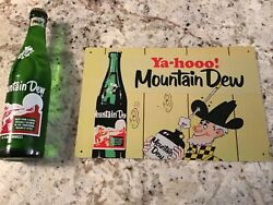 Vintage Hillbilly Full Mountain Dew Bottle And Beautiful Retro Sign