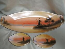 Noritake M Handpainted Tray, 6 Dishes, Made In Japan, Beach, Windmill, Sailboat