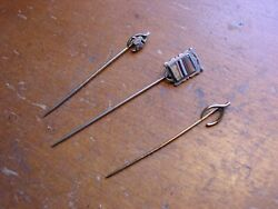 Three Interesting Silver Topped Collectible Vintage Stick Pins