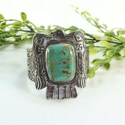 Native American Turquoise Eagle Wide Cuff Bracelet Rt5818