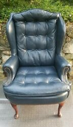 Vintage Queen Anne Style Blue Leather Wingback Chair