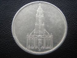 Germany 1934 F Church With 2 Small Swastika 5 Reichsmark Mark Silver Coin M