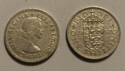 1955 And 1957 Great Britain One Shilling Coins
