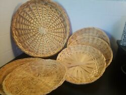 Vintage 1960s Wicker Straw Rattan Woven Paper Plate Holders 6 Mismatched Set S6
