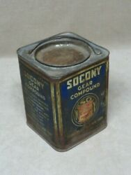 Socony Gear Compound Metal Grease Can Standard Oil Co W/ Bail Handle Vintage