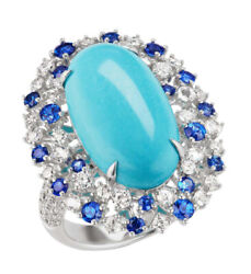 1.50ct Natural Round Diamond Sapphire Turquoise 14k White Gold Cocktail Ring
