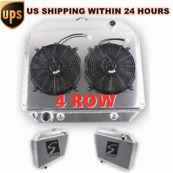 4 Rows Radiator 1966-1979 Ford F-100 F-150 F-250 F-350 V8 W/dual 12'' Fans Combo