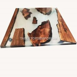 Epoxy Clear Resin Table Dine Sofa Center Interior Acacia Wooden Furniture Décors