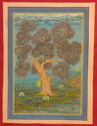 Original Handmade Tree Of Life Delicate Indian Floral Miniature Fine Painting