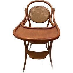 Antique German Childs Cane Oak Brentwood Highchair By Michael Thonet 19th Cen