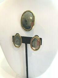 Vintage Monogrammed Dress Pin Brooch Clip Earrings Set Good Quality Will Clean