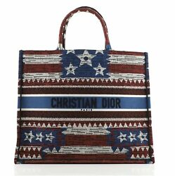 Christian Dior Book Tote American Flag Embroidered Canvas