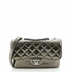 Clams Pocket Flap Bag Quilted Metallic Calfskin Small
