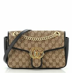 Gg Marmont Flap Bag Diagonal Quilted Gg Canvas Small