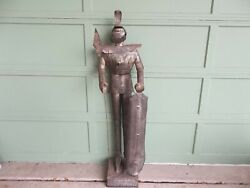 Vintage Metal Knight Medieval Suit Of Armor W/ Weapons Statue Medieval 64