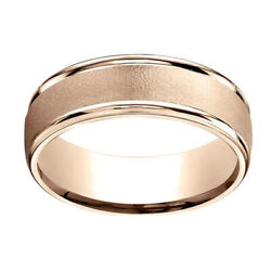 14k Rose Gold 7mm Comfort-fit Wired-finished High Polished Band Ring Sz-11