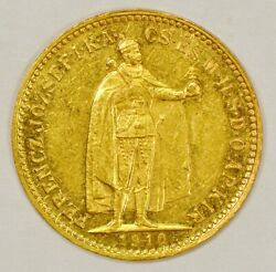 1910 Hungary 10 Korona Gold Coin For Franz Joseph I With Angels On Reverse