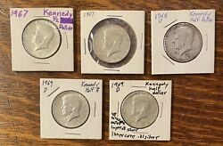 Lot Of 5 Kennedy Half Dollars 40 Silver, Circulated Ungraded 1967-69