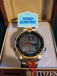 Nos Vintage 80s Citizen Wind Surfing D060 Watch With Gold Bezel And Original Band