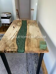 Fashion Green Wave Resin Table |acacia Epoxy Dine Table| Living Room Resin Table