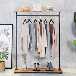 Heavy Iron Wood Clothes Rack, Garment Hanger, Floor Display Stand With Storage