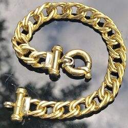 14k Italy 2tone Yellow And White Gold 16.2 Gram Designer Double Curb Link Bracelet
