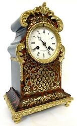 Antique Red Tortoise Shell Boulle Mantel Clock By Vieyres And Repingon Paris
