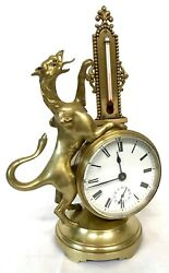 Stunning Antique Brass Griffin Novelty Desk Thermometer And Alarm Clock