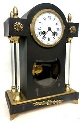 Beautiful Antique Patinated Brass Cased Clock With Unusual Glass Pillars Marti