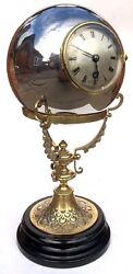 Antique Mystery Novelty Chrome Ball Clock On Brass Stand French Working