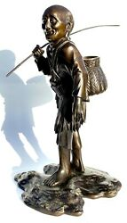 Antique Meiji Japanese Bronze Figure Of A Fisherman Carrying His Rod And Basket
