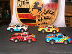 Vintage Tin Porsche Friction Drive Cars Full Set Of 4 Included All Are Nos