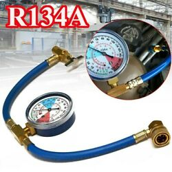 Car Air Conditioning Refrigerant Recharge Measuring Kit Hose Gas With Gauge 1/2