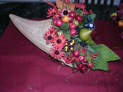 Za Wicker Cornucopia Filled With Fake Fruits And Floral Arrangement Fall Display